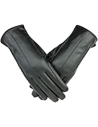 Zhhlinyuan Women Outdoor Windproof Warm Gloves Fashion PU Leather Screen Touch Gloves