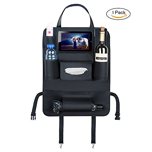 Auto-Rückenlehnenschutz,Tomatu Autositz-Organizer aus Kunstleder für die Rückenlehne, Auto-Lehnentasche, iPad mini Tablet-Halter, Universal-Aufbewahrung für Snacks, Getränke, Spielzeug, Bücher, Kindersachen, - 60 40 Sitzbezüge