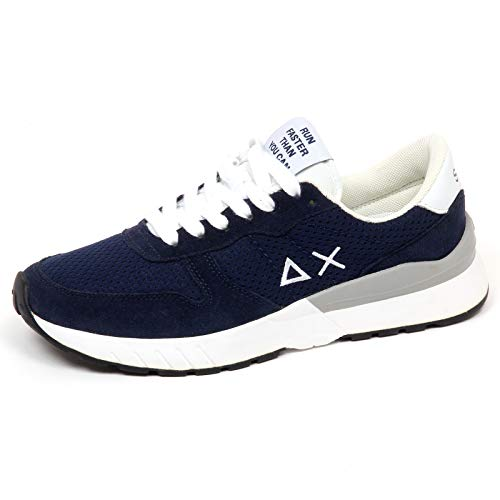 ec8e09e57cd02 SUN E9344 Sneaker Uomo Dark blu 68 Scarpe Suede Tissue Shoe Man  40