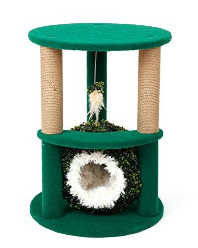 Katze Craft 4306001Zwei Level Katze Baum mit Gras Ball und weiß Bett, 68,6cm (Zwei-level-cat Baum)