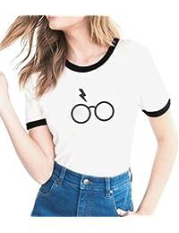 cff91e2f1 Minetom Verano Amantes Tamaño Grande Manga Corta Cuello Redondo Camiseta  Blusa Mujer Slim Camisa Carta Gato
