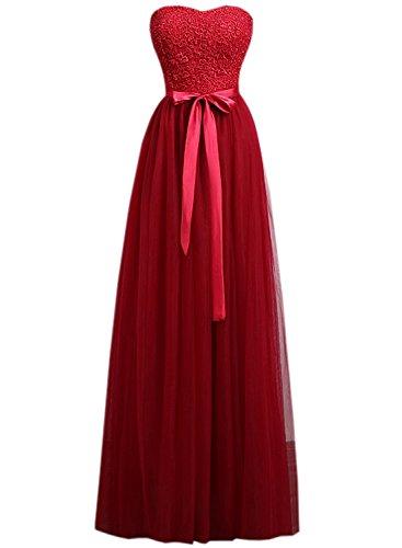 Azbro Women's Elegant Strapless Bow Waist Long Prom Dress Burgundy