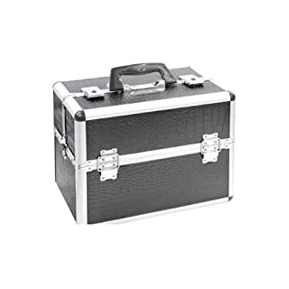 Kosmetikkoffer, Kroko-Optik, Schwarz, 365 x 235 x 285mm