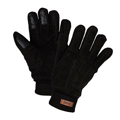 Sense42 | Winterhandschuhe | Touchscreen Handschuhe | Unisex, Damen und Herren | Wildleder Imitat mit Ziernähte | L/XL | braun