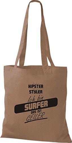 Shirtstown Stoffbeutel du bist hipster du bist styler ich bin Surfer das ist geiler hellbraun