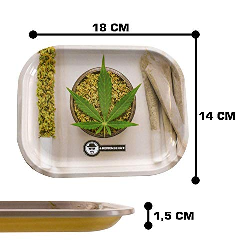 Heisenberg Metall Drehtablett/Rolling Tray in 4 Designs - 18cm x 14cm - Extra hoher Rand 1,5cm - Rolltablett Design Bogart