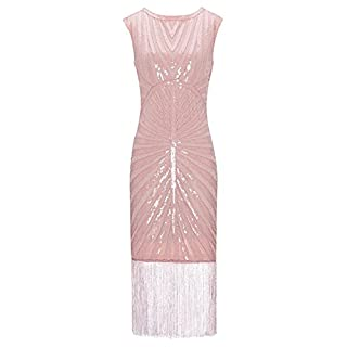 Metme Women's 1920s Classic Long Beaded Cocktail Party Dress Fringe Embellished for Cocktail Gatsby Party (L, Light Pink)