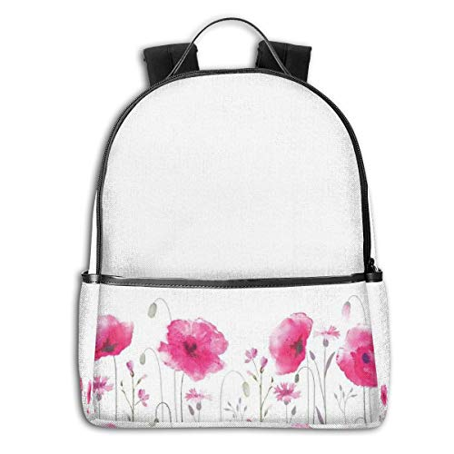College School Backpacks,Mass of Flower Glade with Poppy Petals Summer Garden Theme Field Elements Artwork Print,Casual Hiking Travel Daypack -
