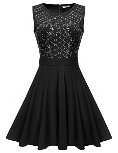 Meaneor Damen Retro Vintage kleid Rockabilly Party Cocktail Kleid A-Linie Paillettenkleid Falten