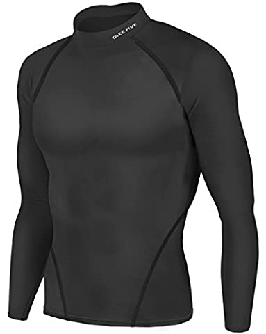 New Men Athletic Apparel Long Sleeves Shirts Skin Tights Compression Base Under Layer Top (NT012 BLACK,