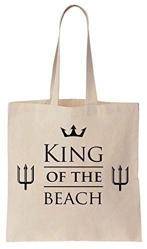 King Of The Beach Fancy Design Tote Bag Bolsos de Compras Reutilizables de Algodón