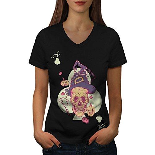 Schädel Damen M V-Ausschnitt T-shirt | Wellcoda (Schrei Der Angst-halloween)