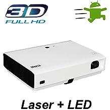 NIERBO 3D Proyector DLP láser 1080P HD Video Home Theater 3000 Lúmenes Android WIFI Bluetooth 20000: 1 Contraste