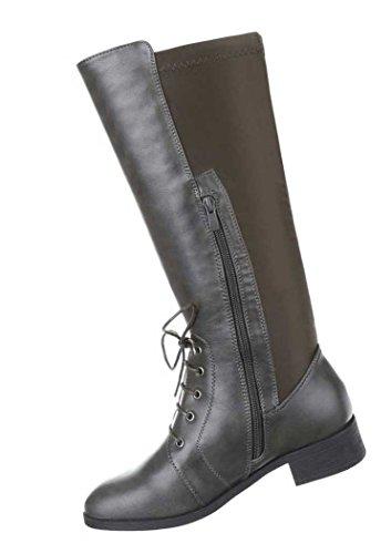 Stiefel Damen Schuhe Schnürer Lederoptik Langschaft Schwarz Grau Braun 36 37 38 39 40 41 Grau Braun
