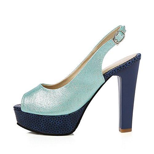 VogueZone009 Donna Puro Luccichio Tacco Alto Sbirciare Fibbia Sandali Azzurro