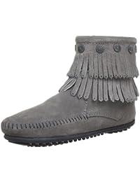 MINNETONKA - Double Fringe Side Zip Boot - Marron