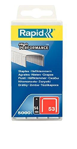 Rapid, 40303087, Agrafes en fil fin N°53, Longueur 14mm, 5000 pièces, Pour le textile et la décoration, Fil galvanisé, Haute performance