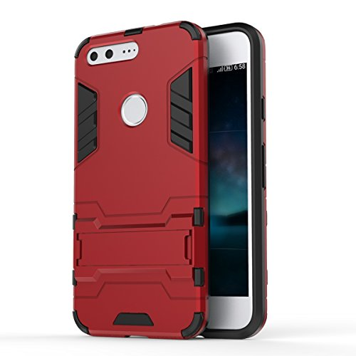 Google Pixel Case, 2 in 1 neue Rüstung Tough Style Hybrid Dual Layer Rüstung Defender PC Hartschalen mit Standplatz Shockproof Case ​​Für Google Pixel 5,2 Zoll ( Color : 2 , Size : Google Pixel 5.2 In 1