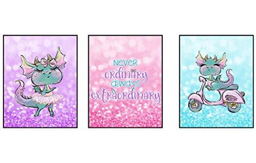 Silly Goose Gifts Never Ordinary Always Außerordentliches Wanddekoration, Drachen-Design, 3 Stück 8x10in Rose