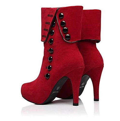 QIYUN.Z Bouton Stiletto De Roll-Up Haut Talon Plateforme Bottines Femmes Zipper Chaussures En Daim Rouge