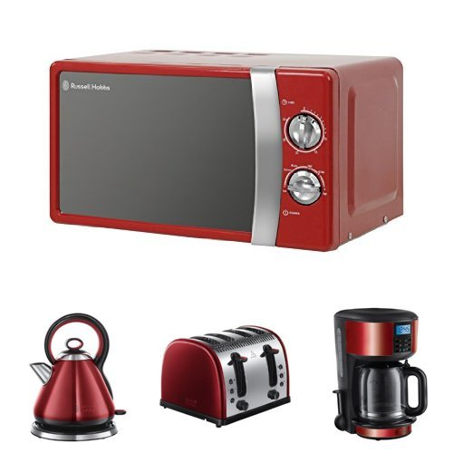 Russell Hobbs 17 L, 700 W Manual Microwave with Legacy Kettle, 3000 W and Legacy 4 Slice Toaster - Metallic Red