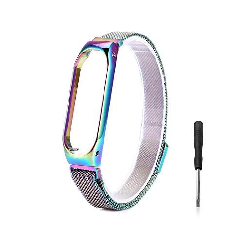 Wanfei Xiaomi Bracciale Mi Band 3 Strap, Xiaomi Mi Band 3 Cinturino da Polso sostitutivo, Metal Strap Wristband di Ricambio Strap Extendable Bracelet for Xiaomi Mi Band 3(No Tracker/No Host)