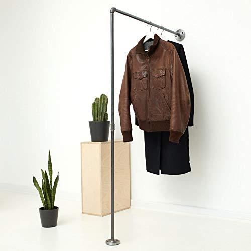 Various Kleiderständer Kleiderstange im Industrie-Design - schöne Wand-Garderobe zum Aufhängen von Jacken, Mänteln - schwarz, aus Metall, stabil