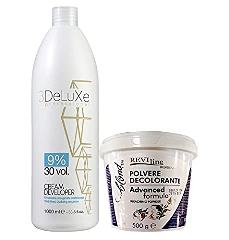 Set of Cream peroxide 1000ml (9% volume 30) and Bleach Powder (ADVANCED FORMULA) 500g no dust formula Professional Lightening bleaching highlighting hair protect formula
