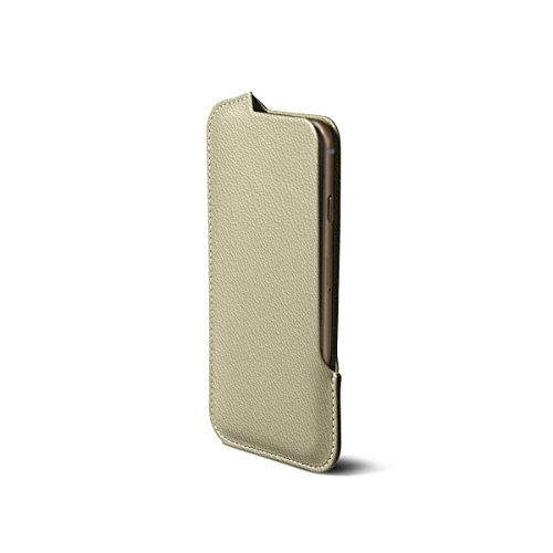 Lucrin - iPhone 7/6/6s-Hülle mit Seitenöffnung - Fuchsia - Ziegenleder Gebrochen Weiß