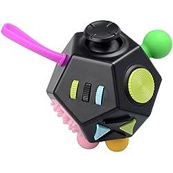 Juguete Antiestrés Stress Cube, JIM'S STORE 12 Lados Cubo de Descompresión Juguete de Atención a la Ansiedad Juguete de Dedo Sensorial para ADHD, ADD Adultos y Niños (Negro)