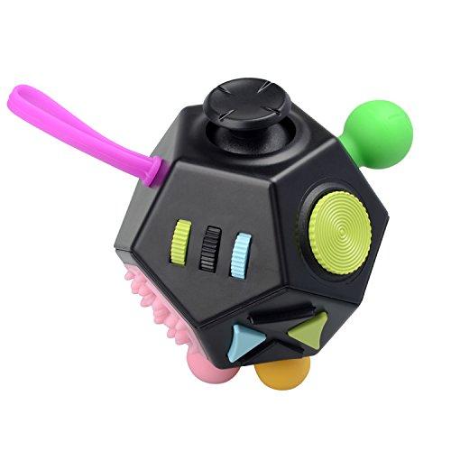 Fidget Juguete Antiestrés Stress Cube  JIM'S STORE 12 Lados Cubo de Descompresión Juguete de Atención a la Ansiedad Juguete de Dedo Sensorial para ADHD  ADD Adultos y Niños (Negro)