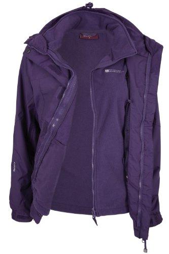 Mountain Warehouse Storm Damen 3 in 1 Regenjacke Warm Wasserdicht Winterjacke Doppeljacke Funktionsjacke mit Fleece-Innenteil Violett DE 44 (EU 46)