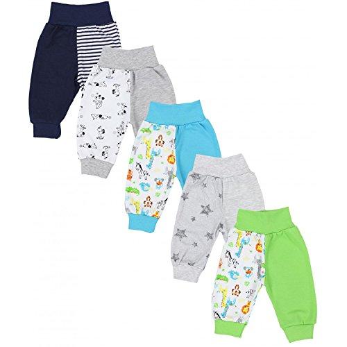 TupTam Unisex Baby Pumphose Jersey Schlupfhose 5er Pack, Farbe: Junge 4, Größe: 92