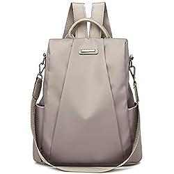 Mochilas Casual de Viaje de Tela Oxford de Personalidad de Moda Bolsa Antirrobo Paquete de Viaje y Ocio para Mujeres y Chicas Diario Messenger Bag Backpack (Caqui)