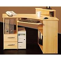 5-5-4-523: made in BRD - PC-Tisch - Eck Schreibtisch -buche dekor - Computertisch - preisvergleich