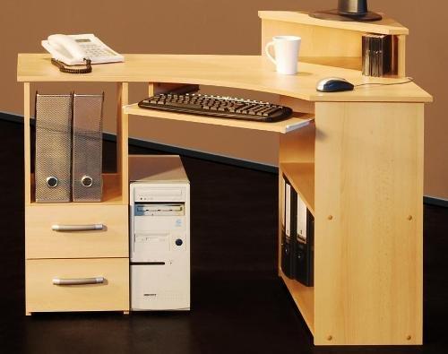 5-5-4-523: made in BRD - PC-Tisch - Eck Schreibtisch -buche dekor - Computertisch