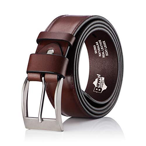 BeComfy Cinturón de cuero para Hombres - 100% cuero verdadero | De ancho 38 mm | Jeans de cinturón de los hombres (125 cm cintura - 140 cm de longitud total, PJ08 Marrón)