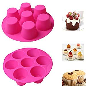 7 Cavity Silicone Cupcake Cake Mold Muffin Chocolate Pudding Baking Tray Pan