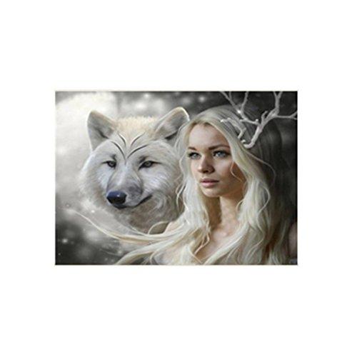 zhouba 5D Kunstharz Diamant Wolf und Beauty Malerei Stickerei Set Decor, canvas, multi, Einheitsgröße (Set Kunststoff-canvas-muster)