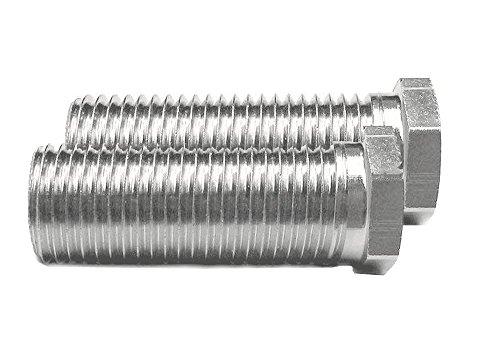 2x Keenberk Hohl-Schraube kurz, Länge 25 mm für Siebkorbventile M12 x 1,5 mm - universell passend für 1,5 und 3,5 Zoll Ventil-Abläufe