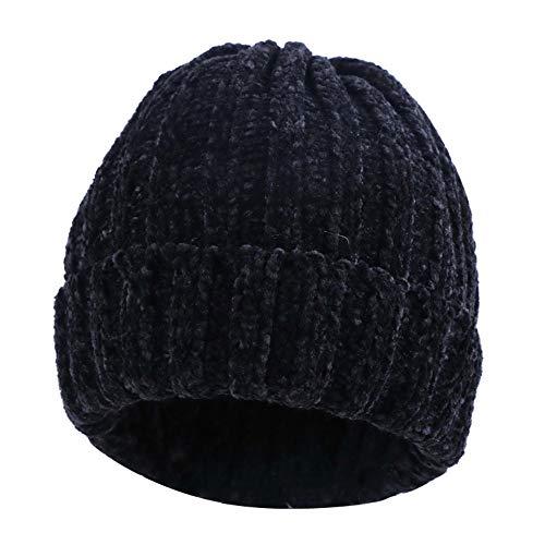 ZLULU Mütze Hüte Frauen Chenille Beanie Mode Winter Hut Weichen Skullies Wärmer Gute Qualität Einfarbig Winter Hut, Schwarz -