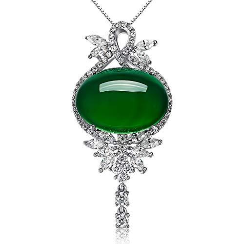 Natürlicher Smaragd-Achat-Grün-Chalcedon-Anhänger Weiblicher Jade-Anhänger