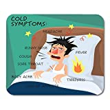 Mouse Pads Cold Symptoms in Flat with Man Who Feel Feverish Chills Cough Sore Throat Cartoon Character Influenza Flu Mouse Pad