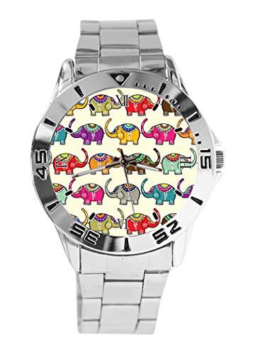 Reloj de Pulsera analógico con diseño de Elefantes y Esfera Plateada de...