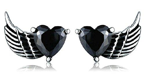 Gnzoe Jewelry, Femmes Hommes En Acier inoxydable Stud Earring Zircon Cubique Heart Wing 2Pcs/1pcs Noir(2pcs)