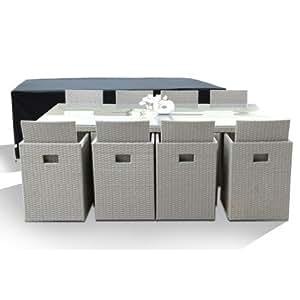 Salon de Jardin avec 8 fauteuils encastrables gris clair et housse de protection