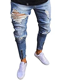 Byqny Cerniera Del Piede Nessuna Elasticità Skinny Slim Strappati Distressed Pantalone Da Denim Fit Gamba Dritta Jeans Da Uomo Comfort