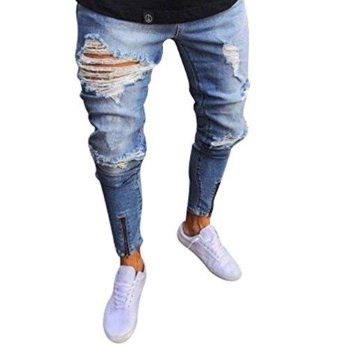 byqny cerniera del piede nessuna elasticità skinny slim strappati distressed pantalone da denim fit gamba dritta jeans da uomo comfort - 41rGiHyie L - Byqny Cerniera Del Piede Nessuna Elasticità Skinny Slim Strappati Distressed Pantalone Da Denim Fit Gamba Dritta Jeans Da Uomo Comfort
