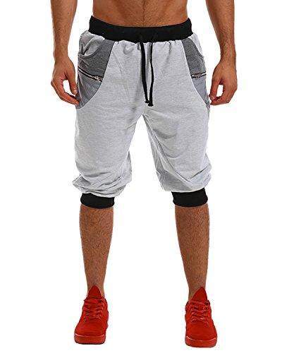 MODCHOK Homme Shorts Bermuda Pantacourt Jogging Sport Poches Casual Taille Élastique (S, Gris Clair 1)