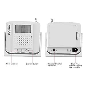 Oxford Street Lot de sonnette sans fil à brancher ZOGIN Sonnette sans fil avec récepteur infrarouge capteur PIR détecteur de mouvement sans fil de Bell de porte